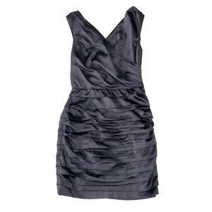 Express Ruched Detail V-Neck Black Cocktail Dress